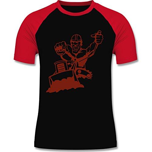 Handwerk - Raupenfahrer - zweifarbiges Baseballshirt für Männer Schwarz/Rot