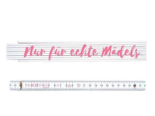 Preisvergleich Produktbild ZOLLSTOCK Spruch NUR FÜR ECHTE MÄDELS Maßstab Frau Geschenk Rosa Spruch Shabby