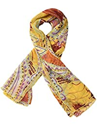 The Gud Look Women's Multi Print Scarf (10005557, yellow, FS)