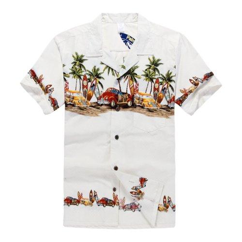 Hombres-Aloha-camisa-hawaiana-en-Coches-antiguos-Palmeras-Tablas-de-surf-en-Blanco