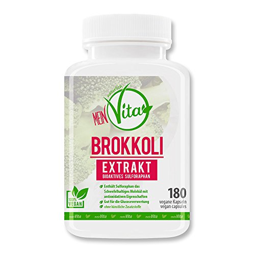 MeinVita Brokkoli Extrakt - 1000 mg (Tagesportion) - hochdosiert - 100% vegane Kapseln, 180 Stück (107 g) (Samen Lebensmittel Brokkoli)