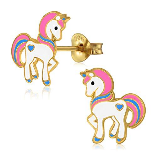 Laimons Orecchini da bambina, a forma di unicorno, placcati in oro 13 mm, rosa, rosa e bianco, in argento Sterling 925