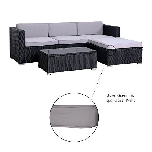 POLY RATTAN Lounge Gartenset SCHWARZ Sofa Garnitur Polyrattan Gartenmöbel Neu - 3