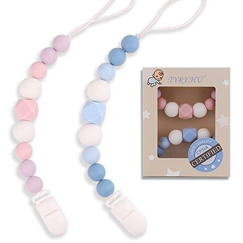 rketten Silikon Kinderkrankheiten Perlen Schnullerkette Säuglings-Baby-Dusche-Geschenk Kinderkrankheiten Relief Kautabletten Binky Halter für Mädchen Jungen ()
