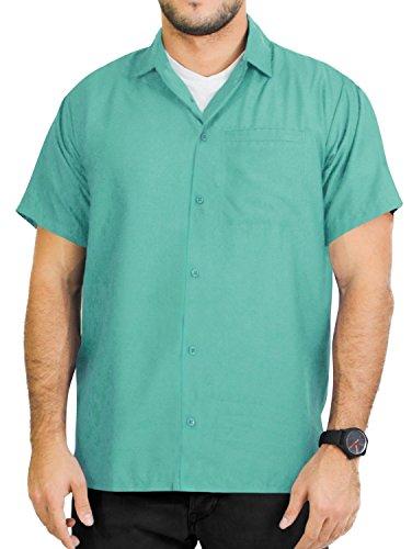 LA LEELA männer Hawaiihemd Kurzarm Button Down Kragen Fronttasche Beach Strand Hemd Manner Urlaub Casual Herren Aloha Grün_A737 2XL Viskose einfach -
