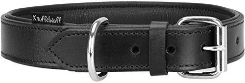 Knuffelwuff Weiches Lederhalsband Hund Hundehalsband Basic Plus Schwarz M 28-36 cm (Breites Hundehalsband Schwarz)