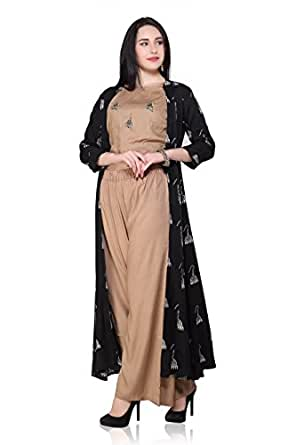 2f97ba861da90 SHEMORJ Classy Butti embroided crop top with Palazzo   long Jacket (Beige  Black X-