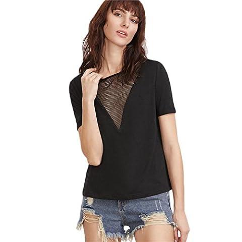 Bluestercool Femmes T-Shirts d'été Mode Chemise manches courtes Blouse Débardeurs décontractés (Tag XL=EU L, Noir)