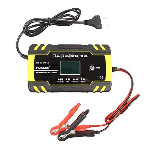 KKmoon Caricabatterie per Auto 12V/24V 8A, Batteria Caricabatterie per Riparazione di Impulsi, Carica Batteria con Schermo LCD Intelligente Caricabatterie AGM GEL WET per Moto Auto, 6-150Ah