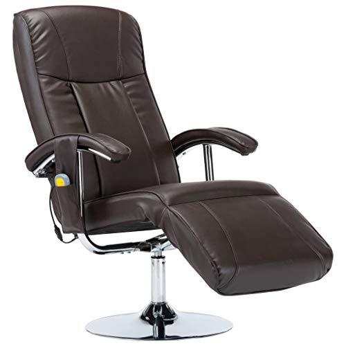 vidaXL Massagesessel mit Massage Heizung Elektrisch Relaxsessel Fernsehsessel TV Sessel Ruhesessel Liegesessel Relaxliege Braun Kunstleder