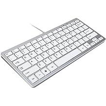 TRIXES Minimal Slim Mini USB teclado Plateado & Blanco (Formato de E E.U U)