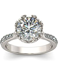 Naitik Jewels 925 Sterling Silver Antique Designer Solitaire Engagement Ring For Women