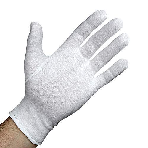 Baumwollhandschuhe (3 Paar, M) Zwirnhandschuhe, Medizinische Handschuhe aus 100% Baumwolle, Stoffhandschuhe bei trockener Haut, Ekzemen oder Neurodermitis, Kosmetikhandschuhe weiß