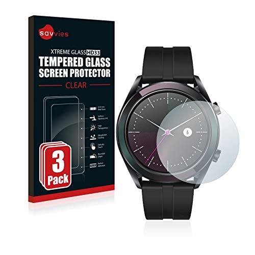 Savvies Panzerglas kompatibel mit Huawei Watch GT Elegant [3er Pack] - Echtglas Schutzfolie 9H