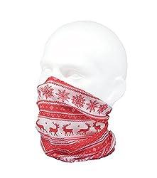 CLASSIC NORDIC WINTER/REINDEER DESIGN SCARF - RED - RUFFNEK® Multifunctional Neckwarmer Ski mask - Men, Women & Children by RUFFNEK® OUTDOORS