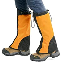 FAMLYJK Senderismo Piernas en la Pierna, Botas para Nieve, Cubierta Transpirable Impermeable para piernas Altas para Caminar, para Escalar al Aire Libre,Yellow