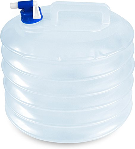 normani Faltbarer Falteimer Wasserkanister mit Hahn in Verschiedenen Größen Farbe 15 Liter -R Größe Transparent