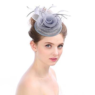 Winkey Hochzeit Party Hut Haarschmuck Kopfschmuck für Damen, Fascinator, Hut, mit Bändern und Federn, von 655387056777 - Outdoor Shop
