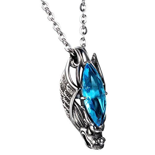 cupimatch gótico Biker Hombres Collar con colgante de cabeza de dragón de acero inoxidable con cadena de 22pulgadas, plata azul