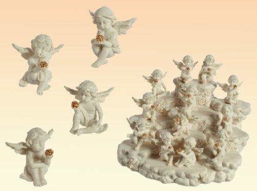 Angelo angioletto seduto in resina con cristallino set 6 pezzi