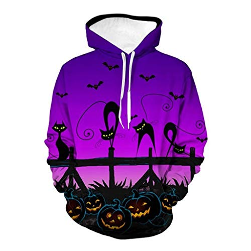 Sonnena Herren Pullover Unisex Halloween 3D Grafik Print Kordel Tasche Pullover Hoodies Sweatshirt Kapuzenpullover Slim Fit Hoodie Long Sleeve Kapuzenpullover Sweatshirt Pullover Kapuzenpulli