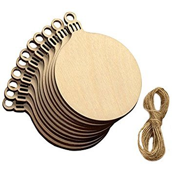 TOOGOO(R) 10 Pcs Wooden Round Bell Hanging Christmas Tree Blank
