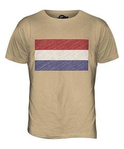 CandyMix Niederlande Kritzelte Flagge Herren T Shirt Sand