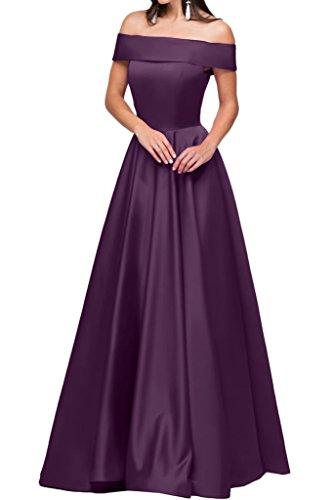 ivyd ressing robe ligne moderne U Satin de la découpe A Long Party Prom robe Lave-vaisselle robe robe du soir Traube