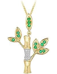 Carissima Gold 9ct Yellow Gold Diamond and Emerald Bamboo Tree Pendant on Curb Chain Necklace of 46cm/18""