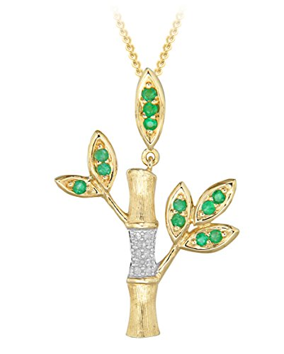 """Carissima Gold 9ct Yellow Gold Diamond and Emerald Bamboo Tree Pendant on Curb Chain Necklace of 46cm/18"""""""