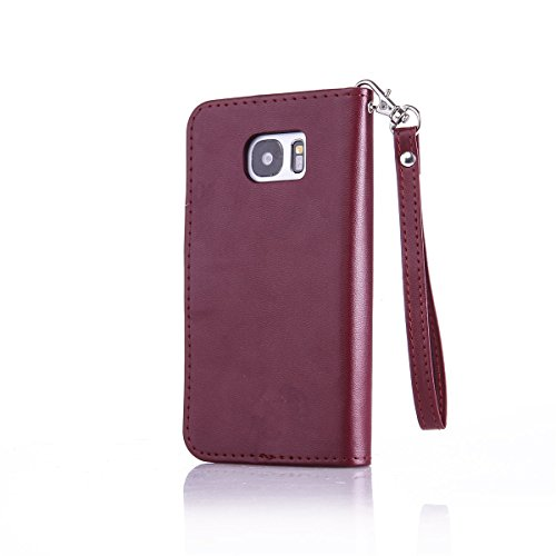 iPhone 5S Coque, iPhone SE Coque, Lifeturt [ Rouge ] Coque Dragonne Portefeuille PU Cuir Etui en Cuir Folio Housse, Leather Case Wallet Flip Protective Cover Protector, Etui de Protection PU Cuir Port E02-Marron