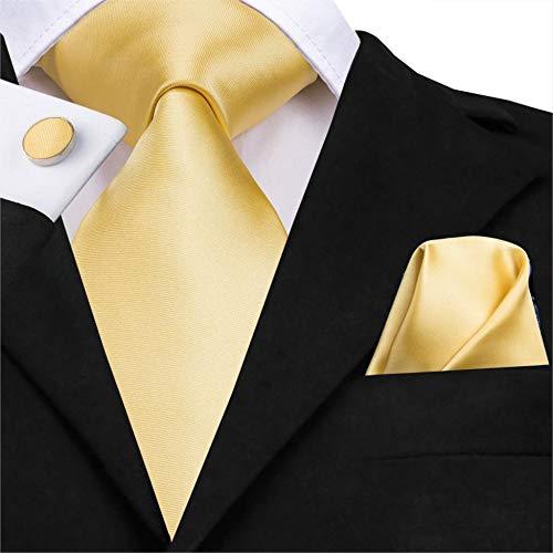 YUANZYPS Herren Krawatte Set,Light Gold Solid Tie 8,5 cm Seide Gewebt Männer Krawatte Plain Krawatte Einstecktuch Manschettenknöpfe Set Hochzeit Klassische Einstecktuch Gelbe Krawatte (Plain Männer Krawatten)