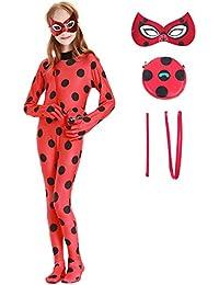 Beunique Enfant Miraculous Ladybug Déguisement Fille Coccinelle Marinette Combinaison Masque Sac Bodysuit Cosplay Costume de Carnaval 3-10 Ans Halloween Noël Fête Cadeau
