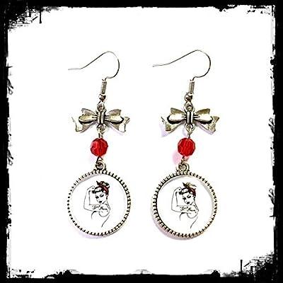 Boucles d'oreilles rockabilly pin up Girl Power Rosie : cabochons en verre, perle Swarovski rouge, breloque noeud