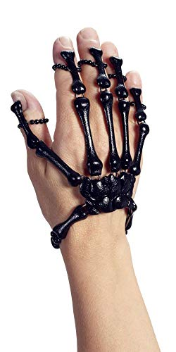 nd Armband Ring Damen Schmuck Hände Finger Knochen Halloween Horror Dia de los Muertos Day of Death, Farbe:Schwarz ()