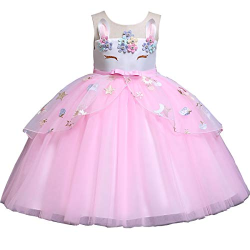 Mädchen Prinzessin Einhorn-Kostüm, Tutu Tanzen Tüll Kleider Cosplay Geburtstag Party Fancy Up, rosa