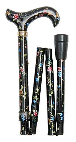 Bastone da passeggio pieghevole da donna, motivo floreale, altezza regolabile, colore nero