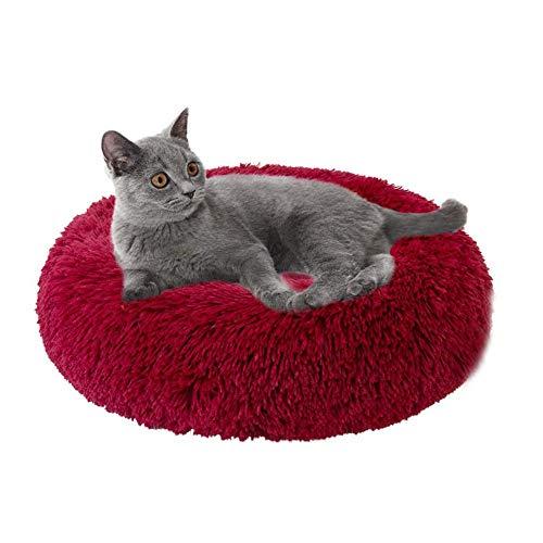 Lit pour Chat Lit Coussin, Cat Orthopédique Lit Confortable Donut Cuddler Round Cat Bed Ultra Soft Lavable Auto-Warming Pet Bolster Bed,60 * 60cm
