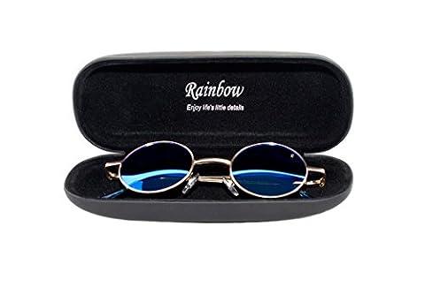 Lunettes de Soleil Rainbow® John Ronde Femme Homme / Lunettes Lennon Style Retro Vintage / POLARISEE 2317 (Or / Bleu Revo Miroir Polarisé 2317F)