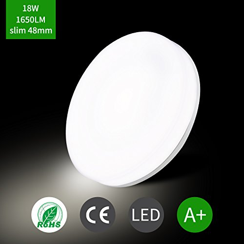 Öuesen Lámpara de techo LED 18W equivalente a 100W Plafón LED de 1650 lúmenes Color Blanco frío 5000K IP44 resistente al agua plafón para cuarto de baño Balcón Piso Cocina Salón