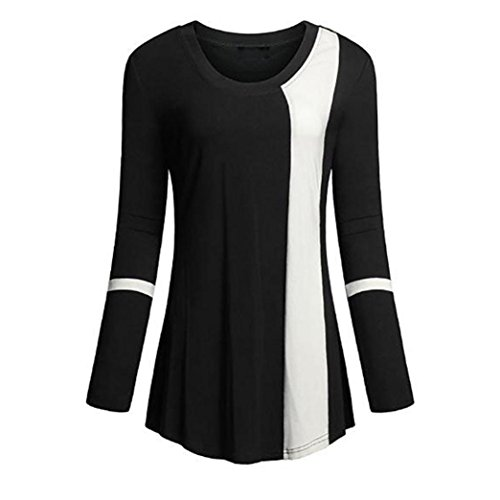 Sunnywill Damen Blusen Pullover Streetwear Langarm Weicher Scoop Neck Langarm Farbblock lose Tuniken Top Shirt (Black, 2XL) (Neck Weste Pullover Scoop)
