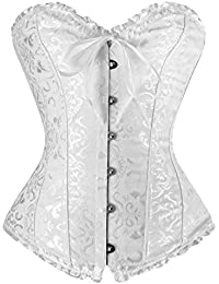 df4cc11de8 Sweetlover Bustier Corset Women Sexy Gothic Lace Up Boned Overbust Waist  Trainer Floral Embroidery Lingerie G