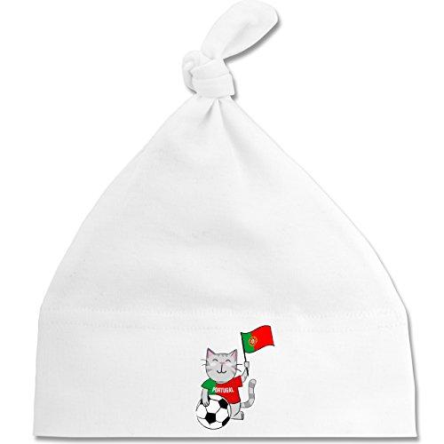 Shirtracer Fußball-Weltmeisterschaft 2018 - Baby - Fußball Katze Portugal - Unisize - Weiß - BZ15 - Baby Mütze mit einfachem Knoten als Geschenkidee (Katze Gewaschen Cap)