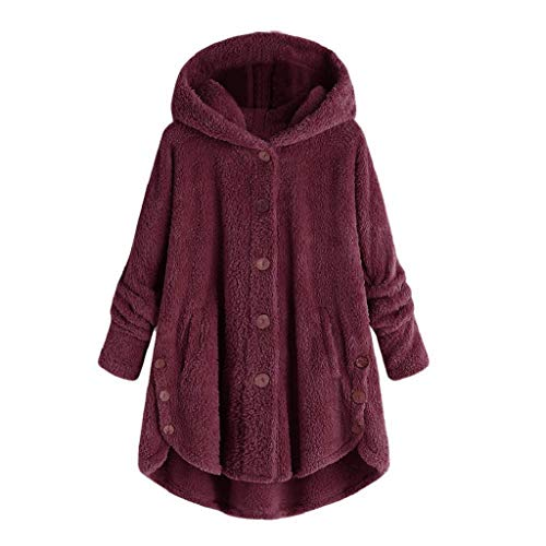 (Plüschmantel Damen Große Größe,Rovinci Frauen Fleecemantel Lose Warme Button Down Mantel Einfarbig Plüschjacke Casual Kapuzenpullover Winterjacken Teddy-Fleece Langarm Oversize Sweatjacke Outwear)
