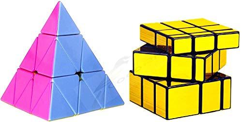 CocoRio Super Magic Speed Rubix's Cube Puzzle Combo Pack Game Multicolor (Gold Mirror / Pyramid)