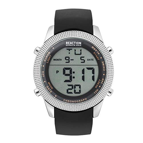 Kenneth Cole Reaction - Reloj Digital de Cuarzo para Hombre, Acero Inoxidable y Silicona, Color Negro (Modelo: RK50548001)