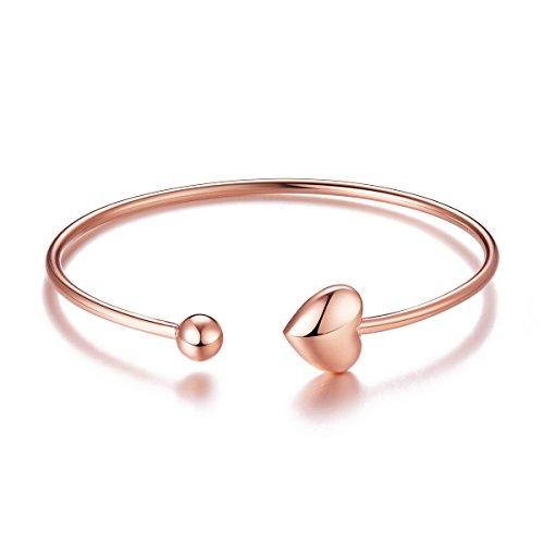 Sweetiee donna bracciale aperto in argento 925 con cuore e perla, platino, oro rosa, 18k oro placcato, 55mm, regolabile