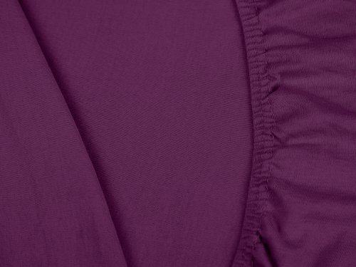 npluseins klassisches Jersey Spannbetttuch - erhältlich in 34 modernen Farben und 6 verschiedenen Größen - 100% Baumwolle, 70 x 140 cm, lila - 5