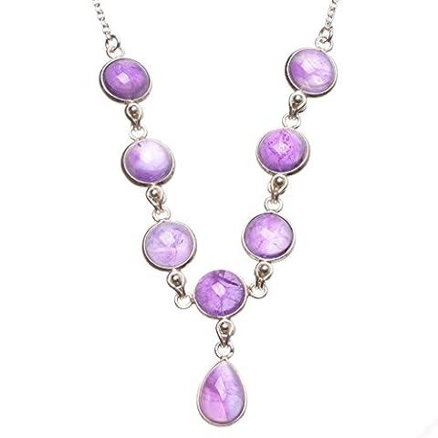 stargems (TM) Natürliche Amethyst Handgefertigt Boho 925Sterling Silber Y Halskette 42,5cm