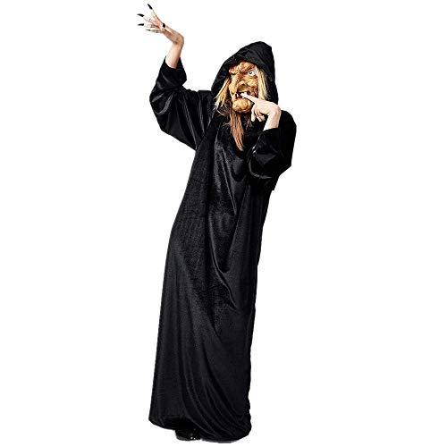 Battnot Damen Cosplay Kleider Hexe Kleid Gothic Vintage Halloween Party, Frauen Mini Kleid+Maske+Fingerhülle 3-teiliges Set Outfits Festlich Programm Kostüme Kleidung Womens Halloween Cosplay Dress (3 Teiliges Krankenschwester Outfit Kostüm)